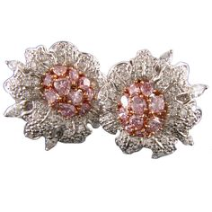 FRED LEIGHTON Diamond Flower Earrings | From a unique collection of vintage clip-on earrings at https://www.1stdibs.com/jewelry/earrings/clip-on-earrings/
