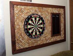 Wine cork dart backboard! : somethingimade Dart Board Backboard, Dart Board Cabinet, Cork Dartboard, Repurposed Wood Projects, Home Bar Rooms, Game Room Bar, Basement Makeover, Basement Ideas, Cork Wall