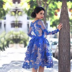 Royal Blue Prom Dresses Long Sleeves Knee-length 3D Floral Appliques Formal Gowns Arab Dresses Online