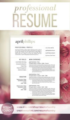 Beautiful professional resume template. Includes three options for one, two or three page resumes, cover letter template and reference template.