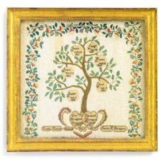 Love this image of a family tree. Rare Needlework Sampler: A New England Family Tree, Louisa H. Plympton (b. 1812), Middlesex County, Massachusetts, circa 1830