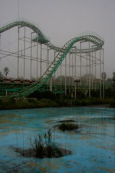 The Screw Coaster - a disused and dilapidating roller coaster at the closed down Nara Dreamland Themepark in Japan
