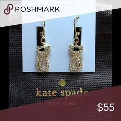 Jazz Things Up. Pave Cat Drop Earrings NWT Jazz Things Up. Pave cat drop earrings. Gold plated. Kate spade POUCH included. NWT. kate spade Jewelry Earrings