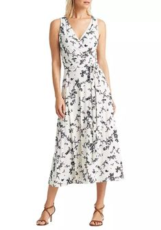 Lauren Ralph Lauren Floral Print Tie-Waist Jersey Dress - Cream/Blue/Multi - Google Search Belts For Women, Clothes For Women, Casual Dresses, Summer Dresses, Dresses Online, Floral Prints, White Dress, Ralph Lauren, Fashion Outfits