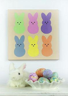 Easter Peeps canvas wall decor. #peeps #easter #decoartprojects