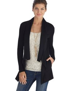 White House | Black Market Long and Lean Black Jersey Coverup #whbm