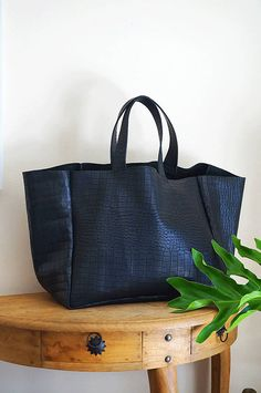 df2cd6f48e51 RESERVED for Tara   Large Black Leather Tote Bag Black Leather Handbag Black  Crocodile Embossed Shoulder Bag Large Carry All – MarinaBlkEL4