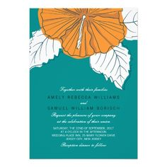Shop Trendy Teal Orange Hibiscus Wedding Invitation created by pinkpinetree. Personalize it with photos & text or purchase as is! Rehearsal Dinner Invitations, Blue Wedding Invitations, Bridal Shower Invitations, Rehearsal Dinners, Wedding Rehearsal, Trendy Wedding, Summer Wedding, Orange Wedding, Teal Bridal Showers