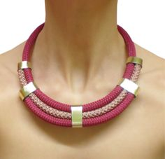 Burgundy rope necklace with leather stripes. by MyHandmadeJewels, €14.00
