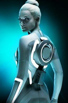 Beau Garrett as Gem in Tron Legacy. Tron Legacy, Beau Garrett, Ex Machina, Cyberpunk Art, Sci Fi Fantasy, Cosplay Girls, Starwars, Movie Tv, Pin Up
