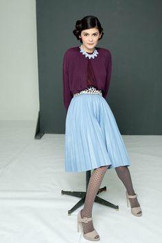 Audrey Tautou by Shayne Laverdière for Marie Claire Russia.love the purple blouse with the blue skirt! Audrey Tautou, Audrey Hepburn, Estilo Fashion, Look Fashion, Ideias Fashion, Womens Fashion, Fashion Beauty, 40s Fashion, Lifestyle Fashion