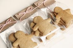 Gingerbread cookies. Adorable simple packaging... baker's twine is perfect! Great party favors!!