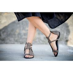 New Grey Strappy Sandals Leather Sandals Grey Sandals Handmade Sandals... ($209) ❤ liked on Polyvore featuring shoes, sandals, grey, women's shoes, flat pumps, strappy leather sandals, roman sandals, strappy gladiator sandals and gladiator sandals