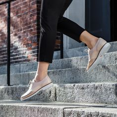 Borrowed from the boys: metallic brogues. Weekend Style, Weekend Wear, Wingtip Shoes, Oxfords, Metallic Brogues, Rockport Total Motion, Spring Shoes, Stella Mccartney Elyse, Shoe Dazzle