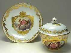 Porcelain Cup and Saucer with the Monogram of Empress Alexandra Feodorovna