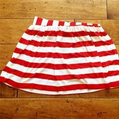 Mimi Chica Red/White Stripped Mini Skirt Mimi Chica Red/White Stripped Mini Skirt- like new, only worn once, mini skirt, excellent condition, fashionable gold zipper on the back of the skirt, above the knee, flat fit- no flares or ruffling, 48% Rayon, 48% Polyester, and 4% Spandex.  *Fast shipper: same day or next morning depending on when purchased  *Top rated seller  *Bundled discounts Mimi Chica Skirts Mini