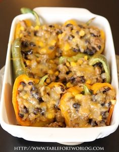Corn and Black Bean Stuffed Peppers    Ingredients:  1/2 large onion,  2 cups black beans,   1 cup frozen corn,  1 tbsp. taco seasoning (or sub for no wheat seasonings),  3 large bell peppers,  1 cup of shredded cheese (I used Monterrey jack) - Click image to find more Food & Drink Pinterest pins