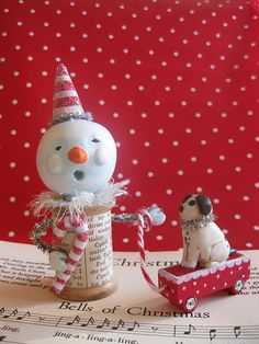 Little snowman with puppy in wagon <> (snowfolk, figurines, Christmas, decor)