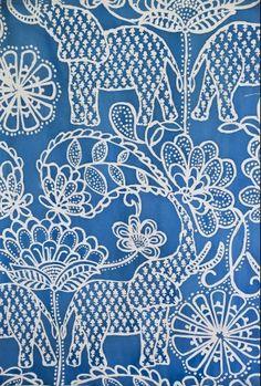 blue paisley elephant - fabric from luli sanchez Motifs Textiles, Textile Patterns, Textile Design, Color Patterns, Print Patterns, Henna Patterns, White Patterns, Flower Patterns, Paisley