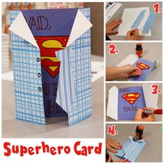 Superhero Greeting Card - perfect for Father's Day! Superhero Greeting Card - perfect for Father's Day! Diy Father's Day Gifts Easy, Diy Father's Day Crafts, Diy Gifts For Dad, Father's Day Diy, Fathers Day Art, Fathers Day Crafts, Papa Tag, Dad Day, Mother And Father