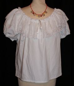 829934ae868cf Vintage 1950s inspired white gypsy folk top with by OuterLimitz Mom Style