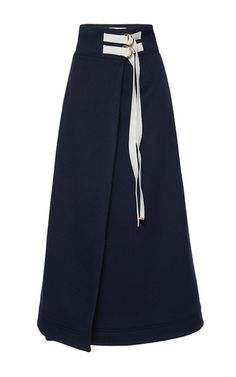 Rendered in virgin wool, this **Marni** skirt features a high waist, a wrap effect with a double belted closure, and a maxi length.