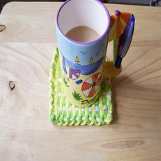 Mug Rug Coaster  Green Yellow and White Mini by CreativeXpression1, $4.00