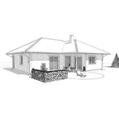 Winkelbungalow-mit-Walmdach-ELK-Fertighaus-Bungalow-112-Skizze-1 Bungalows, Town Country Haus, Living Haus, House Layouts, Floor Plans, Elk, Houses, House Architecture, Small Bungalow