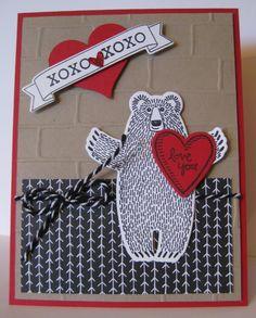 XOXO - Love You Valentine Card - Barb Mann Stampin' Up! Demonstrator - SU - Bear Hugs, Bloomin' Love - Valentine's Day card