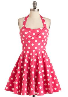 Traveling Cupcake Truck Dress - Rockabilly, Pink, White, Polka Dots, Party, 50s, Halter, Pinup, Best Seller, Fit & Flare, Sweetheart, Variation, Cotton, Short, Top Rated
