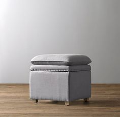 RH baby&child's Classic Nailhead Storage Cube:Double-duty pieces like ours are always welcome in a child's room. Inside, there's space to store everything from bedding to books to toys, while the cushioned top provides an invitingly comfy seat.