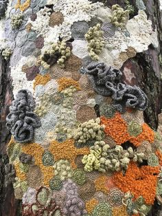 Textile Art 671740100648070232 - -Hannah Streefkerk- the trees around Borås museum I connected patches with crocheted and embroidered lichen. The lichen are made from all kind of yarns. The work was part of the exhibition Letter to my dear Source by Art Fibres Textiles, Textile Fiber Art, Textile Artists, Art Au Crochet, Freeform Crochet, Art Et Nature, Creative Textiles, Yarn Bombing, Art Plastique