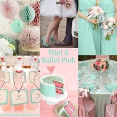 Mint and Pink Wedding Colors - This combination has a lot of options in the intensity and shade of the colors. We chose soft Mint and Ballet Pink. These colors are versatile and work well for spring and summer and for Vintage and Shabby Chic themes. | #exclusivelyweddings
