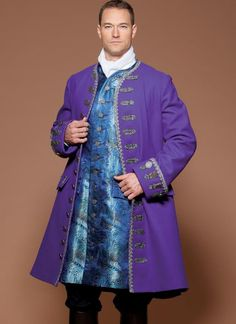 McCall's cosplay and costume sewing pattern by Yaya Han. Men's Three-Quarter-Length Coat and Vest Costume New Outfits, Fashion Outfits, Pirate Fashion, Dress Up Dolls, Scoop Neck Dress, Vest Pattern, Mccalls Sewing Patterns, Simplicity Patterns, Historical Costume