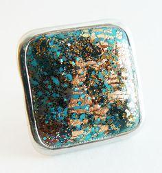Bague carrée réglable en métal argenté fimo et cernit : Bague par commeilvousplaira