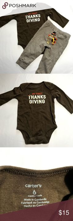 Carters My First Thanksgiving Turkey Brown Onesie Carters My First Thanksgiving Turkey Brown Onesie Set with Leggings 6 months Excellent condition no flaws Carter's One Pieces Bodysuits