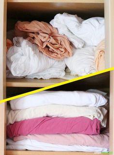 Spannbettlaken zusammenzulegen und ordentlich im Schrank zu verstauen muss kein Alptraum sein. Mit diesem Trick faltest du die Laken richtig!