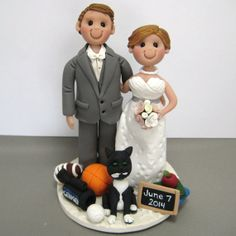 She S A Teacher He Sports Anchor For Their Local Tv Station Custom Made Polymer Clay Wedding Cake Topper By Clayinaround Etsy