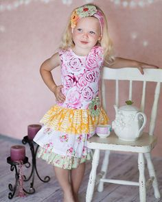 Giggle Moon Honeycomb and Blossoms Connie Skirt Set available in size 4-7. Click to see Pre-order details.