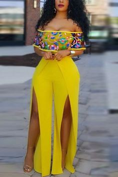 Stylish Bateau Neck Short Sleeves High Split Yellow Healthy Fabric One-piece Jumpsuits at Diyanu Classy Dress, Classy Outfits, Sexy Outfits, Chic Outfits, Fashion Outfits, Latest African Fashion Dresses, African Dresses For Women, African Print Fashion, Curvy Outfits