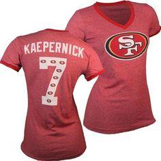 Women's San Francisco 49ers Colin Kaepernick Majestic White Draft Him Fashion Top V-Neck T-Shirt