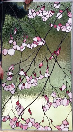 Paintings and Glassworks by Tina Marohn: Newly created stained glass window. 2nd version of cherry blossom.