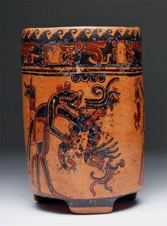 Mayan polychrome cylinder with black jaguar (ex-balanque), Ulua Valley, Honduras, ca. 550 to 850 CE. Est. $4,000-$8,000