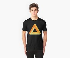 Penrose triangle orange gold yellow on black by aapshop