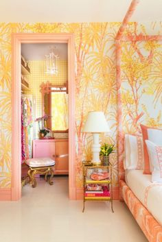 Inside the Kips Bay Palm Beach Show House - Meg Braff's bedroom design is a Palm Beach Chic ray of sunshine! The room and bathroom are enveloped in Meg's signature line of fabrics. Lucite chairs from Color Palette For Home, Jungle Bedroom, Do It Yourself Design, Bedroom Orange, Beach House Decor, Home Decor, Beach Houses, Palm Beach Decor, Chic Beach House