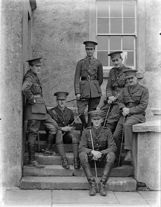 6 April 1915: Royal Engineers officers, Waterford, from the National Library of Ireland on The Commons, via Flickr