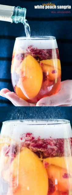 This Sparkling White Peach Sangria recipe from Real Housemoms makes the perfect Summer Cocktail! It's light, refreshing and oh so yummy.