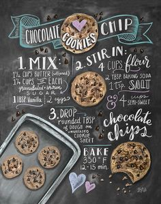 Choc Chip Cookie Recipe Print - Baking Wall Art - Cookie Recipe Art - Chocolate Chip Cookies - Baking Print - Kitchen Decor - Chocolate Chip - The smell of freshly baked chocolate biscuits delicacies surrounds the house like a warm hug … do - Chip Cookie Recipe, Cookie Recipes, Dessert Recipes, Desserts, Bread Recipes, Chocolate Biscuits, Chocolate Cookies, Baking Chocolate, Chocolate Chocolate