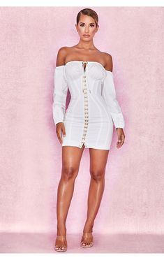 clothing  bodycon dresses  'arabella' white corset dress