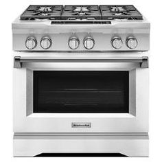 Kitchenaid Self Cleaning Convection Single Oven Dual Fuel Range (Imperial  White) (Common: Actual